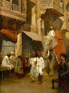 Edwin Lord Weeks - Promenade On An Indian Street