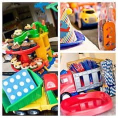 Use toy dump trucks and buses to hold cutlery and napkins or baked goods on sticks