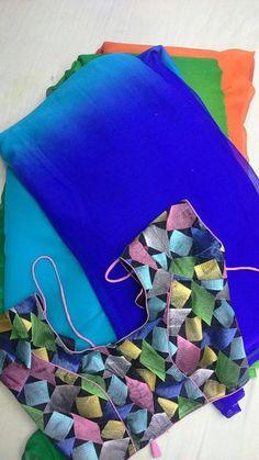 cute mixed color blouse and bridal designing saree.....!! More