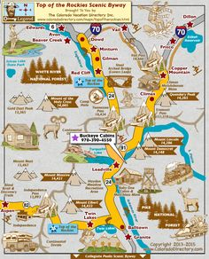 Top of the Rockies Scenic Byway Map, Colorado Vacation Directory