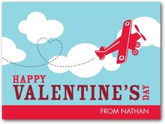 Air Acrobatics - Valentine's Day Cards for Kids in Teal | Pinkerton Design