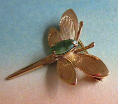 1bfb941bbbf Jade Dragonfly Brooch, Vintage Winard 1/20 12K GF Jade Dragonfly Pin,  Collectible