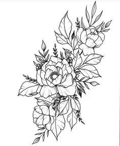 21 Ideas Tattoo Flower Outline For 2019 Flower Tattoo Drawings, Flower Tattoo Back, Flower Tattoo Designs, Tattoo Sketches, Flower Tattoos, Piercing Tattoo, Piercings, Body Art Tattoos, Sleeve Tattoos