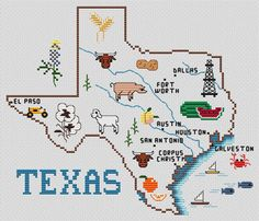 Sue Hillis Texas Map - Cross Stitch Pattern. Model can be stitched on your choice of fabric using DMC floss.  Stitch count 119 x 111.