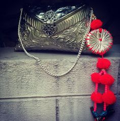 Silver Embossed Box Clutch Bag with Tribal Hangings