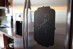 DIY chalkboard stainless steel decal! It won't leave a residue when you remove it! .... Babe!!!