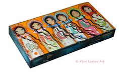 Angels   Giclee print mounted on Wood 3 x 6inches by FlorLarios, $18.00