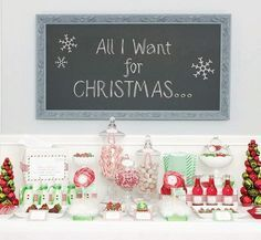 Chalkboard Christmas Sign, Red and Green Candy Table Getting ready for Christmas www.brickroadcreativestudios.com