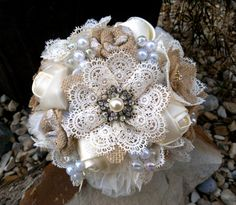 Hey, I found this really awesome Etsy listing at https://www.etsy.com/listing/170292541/rustic-romantic-burlap-and-lace-bouquet