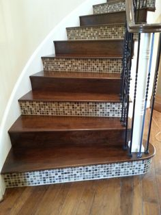 "Custom made American Black Walnut Stair Treads with Bedrosians Kismet Mosaic in the color ""Karma"""