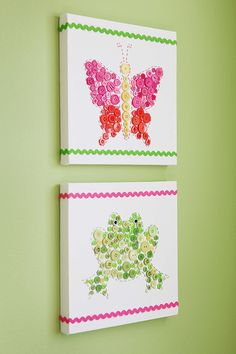 Easy DIY Animal-Button Canvases for Kids' Rooms