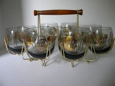 Mid Century Modern ROLY POLY Gold Coin glasses