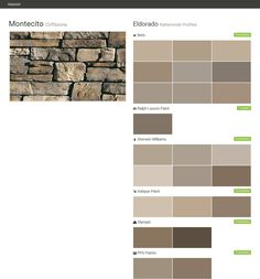 Montecito. Cliffstone. Nationwide Profiles. Eldorado. Behr. Ralph Lauren Paint. Sherwin Williams. Valspar Paint. Olympic. PPG Paints.  Click the gray Visit button to see the matching paint names.