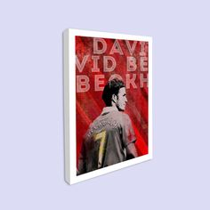 Rolled Canvas Print - David Beckham  This is a stylish rolled canvas print of David Beckham. This Manchester United and English footballer was an instrumental player for both club and country. Styled with typography with a modernist twist it features Beckham in his iconic Manchester United strip.