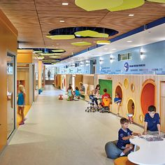 Continuing Education: Active Design School buildings can encourage children to be more physically active, helping develop their bodies and their brains. Kindergarten Interior, Kindergarten Design, Daycare Design, Classroom Design, Primary School, Elementary Schools, Active Design, School Building, Library Design