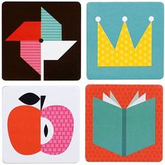 Petit Collage illustrations for a memory game.