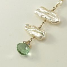 Green Fluorite BIWA Pearl Necklace 14K gold filled by ZionShore, $58.00