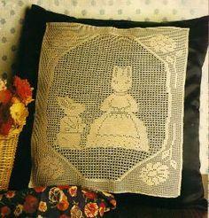 free crochet bunny filet pillow pattern