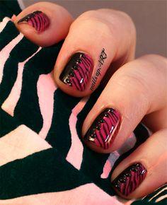 Pink Zebra Print Manicure