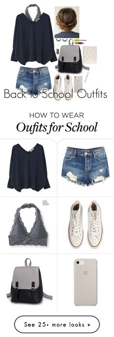 """Back to School Outfits #13"" by gussied-up on Polyvore featuring Aéropostale, MANGO, Converse, Free People, Maybelline, MAC Cosmetics, Sugar Paper and Swarovski"