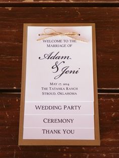 Wedding program, wedding party, thank you card, four tiered rustic wedding program