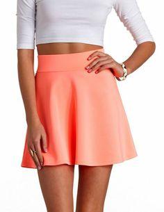 High-Waisted Skater Skirt from Charlotte Russe Skater Skirt Outfit, High Waisted Skater Skirt, Cute Skirt Outfits, Romper With Skirt, Cute Skirts, Dress Skirt, Mini Skirts, Skater Skirts, Skirt Fashion