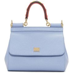 Dolce and Gabbana Blue Mini Miss Sicily Bag ($1,300) ❤ liked on Polyvore featuring bags, handbags, shoulder bags, blue, studded purse, leopard purse, leather purses, mini handbags and blue shoulder bag