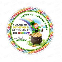 Patrick's Day Printable Tag-St Patrick's Day-D.Y Tags-You Print-St. Patrick's Personalized Tag-Sticker-size - Patrick's Day Printable Tags, Printables, St. Patrick's Day Diy, Sticker Paper, Stickers, Happy St Patricks Day, Personalized Tags, Card Stock, Saints