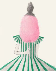 Portrait with cotton candy by Fiona Woodcock