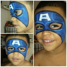 Captain America face painting for boys
