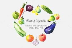 Check out Fruits and Vegetables doodle set by cat_arch_angel on Creative Market