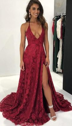 Sexy Prom Dresses #SexyPromDresses, 2018 Prom Dresses #2018PromDresses, Custom Made Prom Dresses #CustomMadePromDresses, Prom Dresses Lace #PromDressesLace, Lace Red Prom dresses #LaceRedPromdresses
