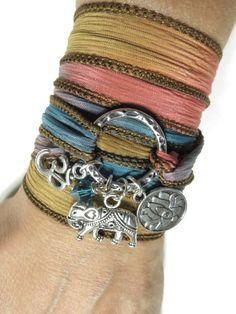 Lotus Yoga Jewelry Wrap Silk Bracelet Om Sacred Elephant Buddhist Karma Ribbon Wrap Bohemian Wrist Band Unique Christmas Stocking Stuffer