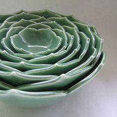 Eight Nesting Lotus Bowls in Emeraude Green. $325.00, via Etsy.