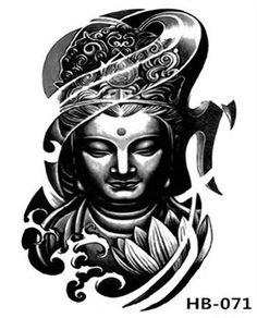 If you're planning to get a Buddha tattoo design, you've come to the best place. We have the best & most beautiful Buddha tattoos for inspiration. Buda Tattoo, Buddha Tattoo Design, Buddha Kopf Tattoo, Head Tattoos, Sleeve Tattoos, Tattoo Sleeves, Skull Tattoos, Tattoo Oriental, Tattoo Sticker