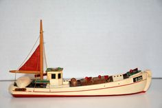 """Vintage Small Wood Boat/Ship Toy? Model/Handmade? 8""""long with Cloth Sail"""