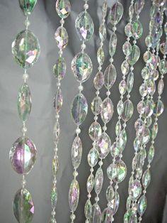 Iridescent Clear Beaded Curtain -- Oval Shapes -- 12 Feet Long