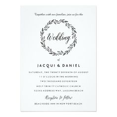 Leaves Wreath Watercolor Wedding Invitation Update