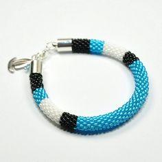 Bead Crochet Bracelet. Rope Bracelet. Blue by ArtStyleBizu on Etsy, $29.00