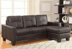 Acosta Transitional Brown Faux Leather Sectional