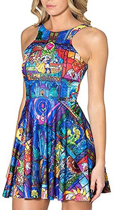QZUnique Women's Cartoon Printed Stretchy Sleeveless Pleated Fit and Flare Skater Dress Casual Day Outfits, Casual Summer Dresses, Summer Dresses For Women, Black Outfits, Outfit Summer, Dress Casual, Pleated Skirt Outfit, Skirt Outfits, Skater Dresses