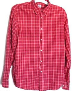 Mens Alessandro Gherardeschi Plaid Shirt Red Size M Long Sleeves Made In Italy #AlessandroGherardeschi #ButtonFront
