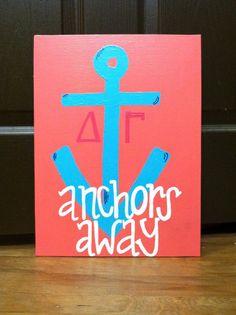 """Delta Gamma Sorority """"Anchors Away"""" Canvas Panel. $25.00, via Etsy."""