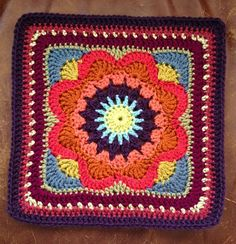 "Ravelry: chitweed's Emmalynn Square. Free 12"" Crochet Square pattern by Carolyn…"