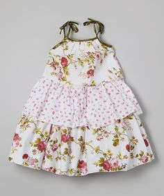 Another great find on #zulily! Green Floral Tiered Tie Dress - Infant, Toddler & Girls by Kid Fashion #zulilyfinds