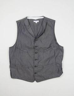 Engineered Garments Navy Iridescent Cotton Twill Cinch Vest