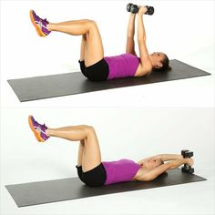 Melt Fat, Build Muscle: Dumbbell Blast Circuit Workout: Add some dumbbells to your fitness routine and build some metabolism-boosting muscle while toning your entire body.-I seriously need to invest in some weights! Sport Fitness, Body Fitness, Fitness Diet, Health Fitness, Fitness Models, Fitness Motivation, Fitness Quotes, Crunches, Get In Shape