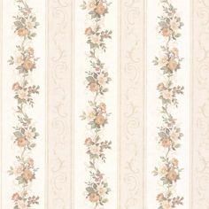 Vintage Rose englische Landhaus Satintapeten Blumen Streifen Art.-Nr.: 68304