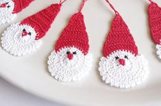 Crochet Santa Claus Christmas decorations Hanging por Edangra