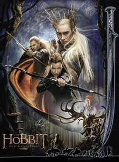 The Hobbit: The Desolation of Smaug. The poster focuses on the elf characters in the film, including Legolas (Orlando Bloom), Tauriel (Evangeline Lilly), and Thranduil (Lee Pace). Gandalf, Legolas And Tauriel, The Hobbit Movies, O Hobbit, Hobbit Land, Thorin Oakenshield, Bilbo Baggins, Jrr Tolkien, Hobbit Desolation Of Smaug